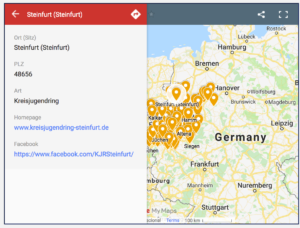 Eine Abbildung der Google Maps Karte der Jugendringe in NRW